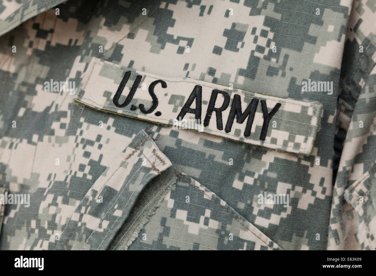 US Army tape on combat uniform - USA - Stock Image