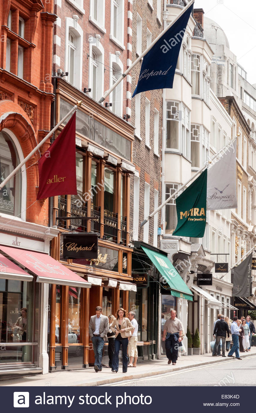 Shopping in New Bond Street, Mayfair, London, UK - Stock Image