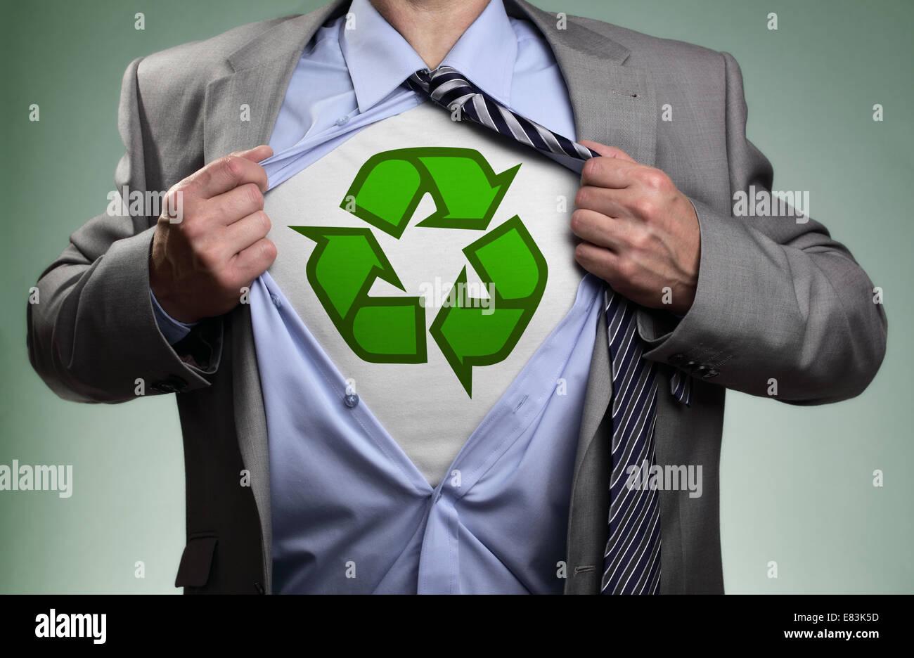 Superhero green eco businessman - Stock Image