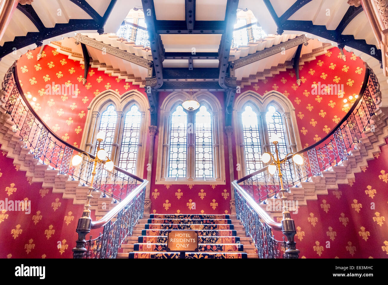 Central staircase of the St. Pancras Renaissance London Hotel, London, England, UK - Stock Image