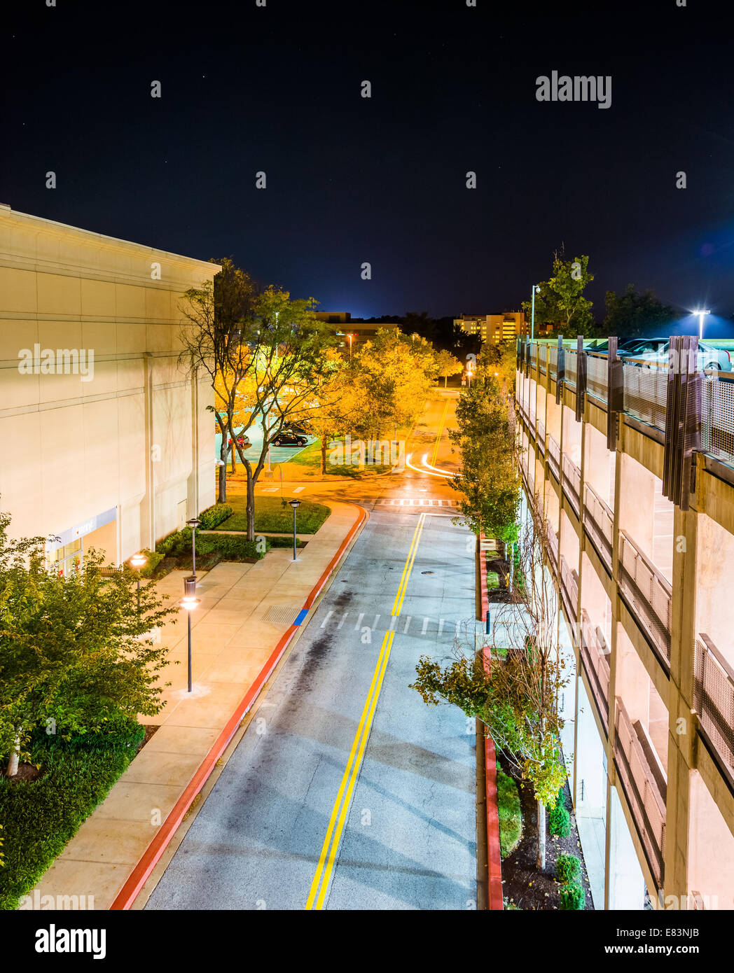 night view from a parking garage in columbia maryland stock photo