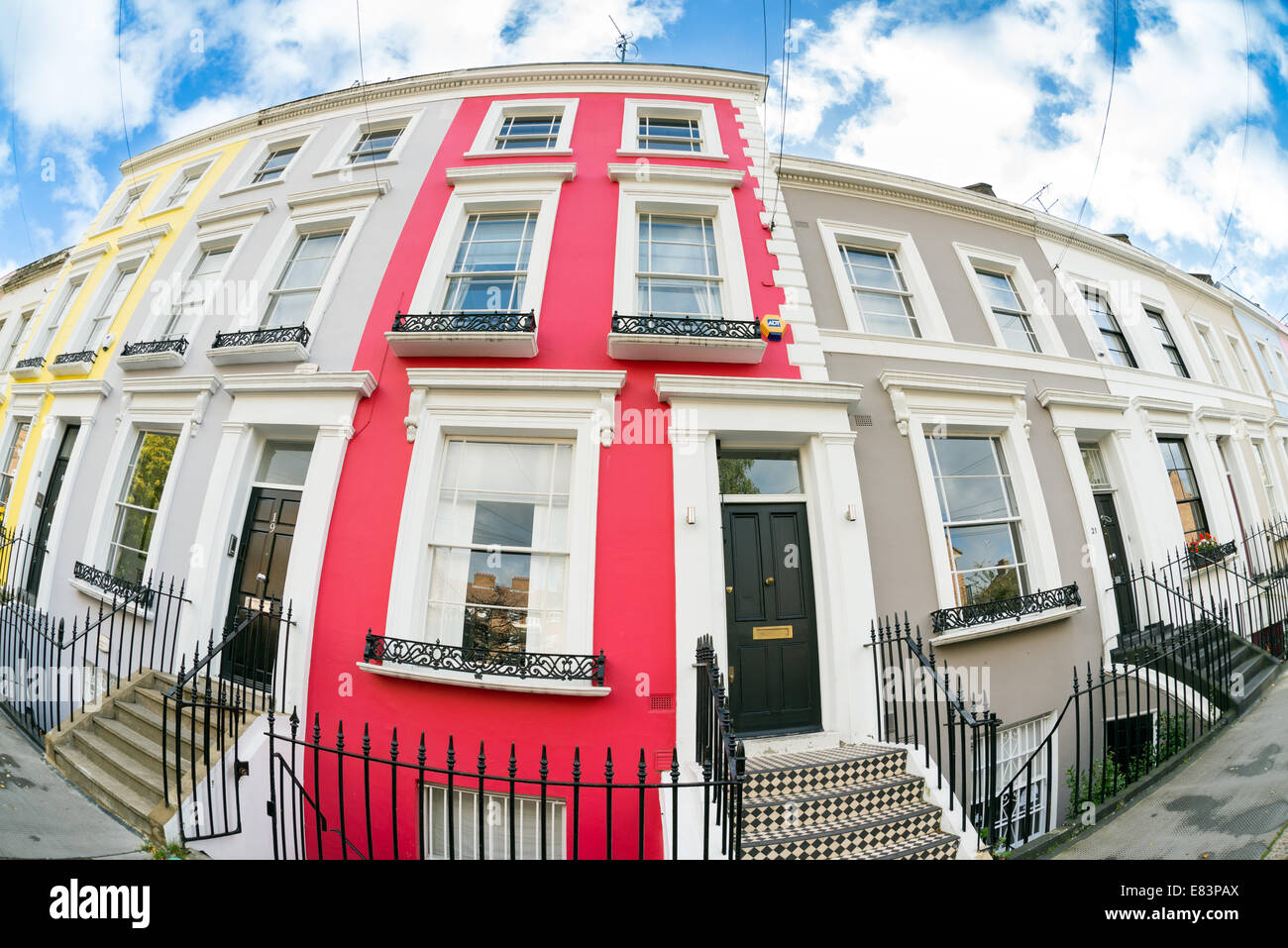Row of terraced houses in Notting Hill, London, England, UK - Stock Image
