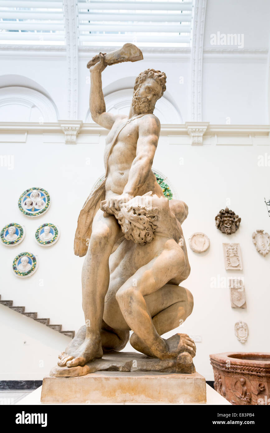 16th century marble sculpture, Samson Slaying a Philistine by Giambologna in the Victoria & Albert Museum, London, Stock Photo