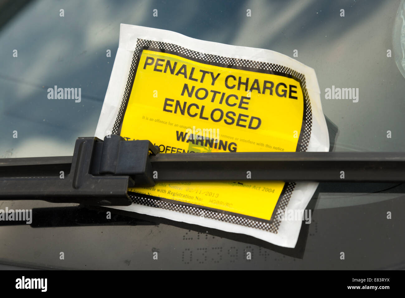 Haringey Council parking ticket on car windscreen, London, England, UK - Stock Image