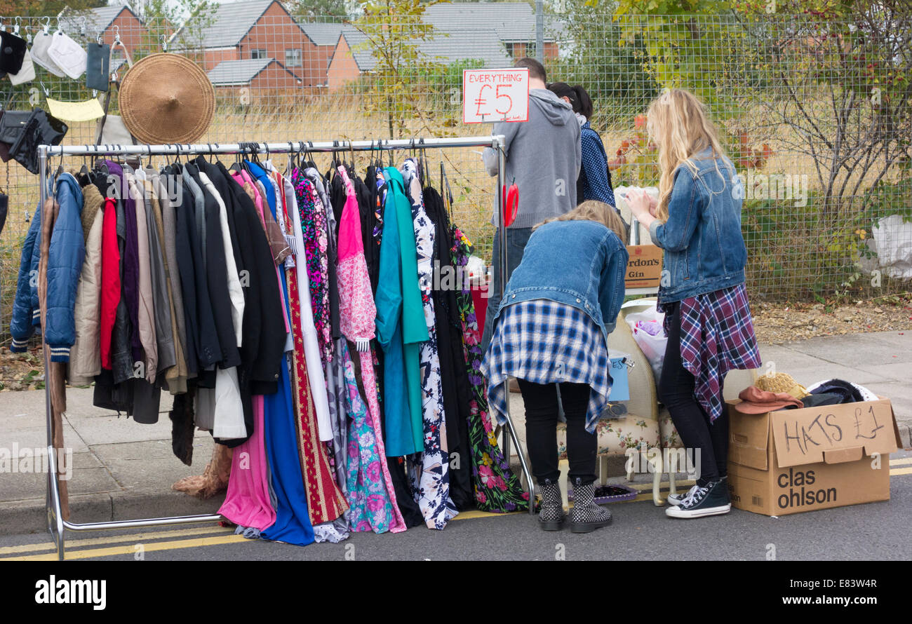 Second hand vintage clothes stall at The Festival of Thrift, Lingfield Point, Darlington, England, UK - Stock Image