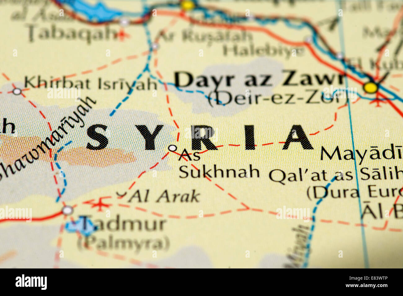Close up of map of Syria - Stock Image