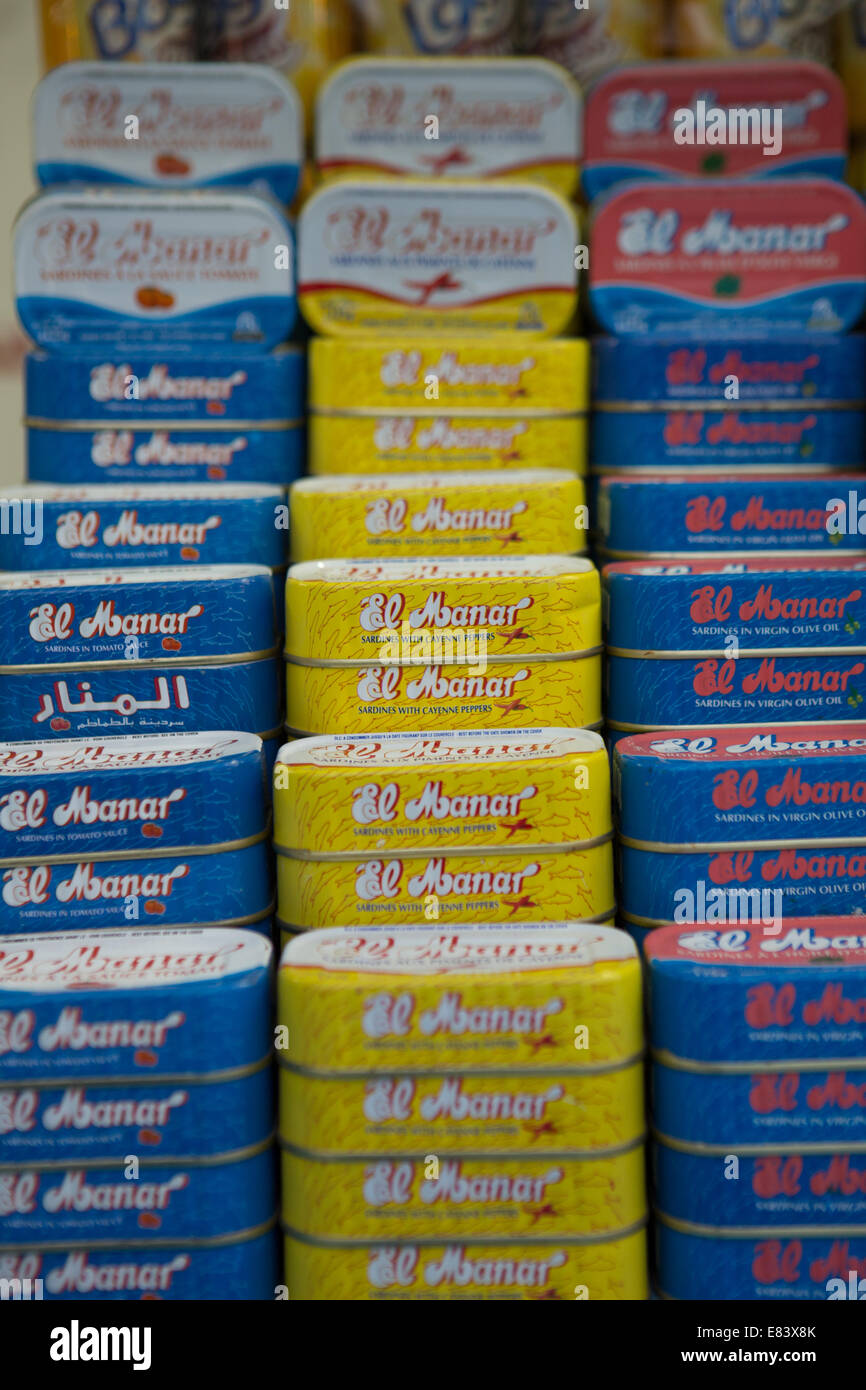 Tinned sardines for sale in the Souk of Global Village, Dubai, United Arab Emirates. - Stock Image