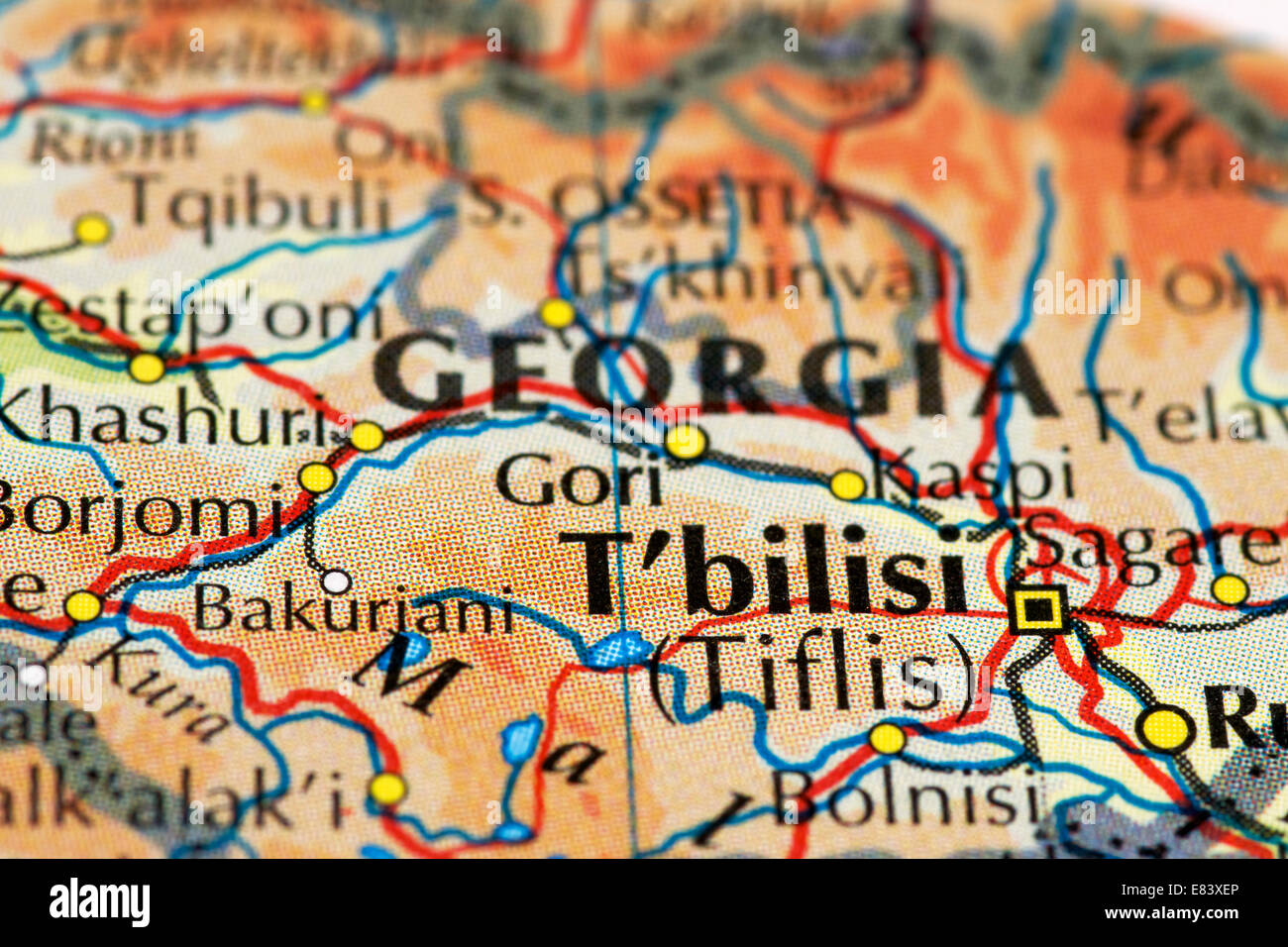Close up of map of T'bilisi, Georgia - Stock Image
