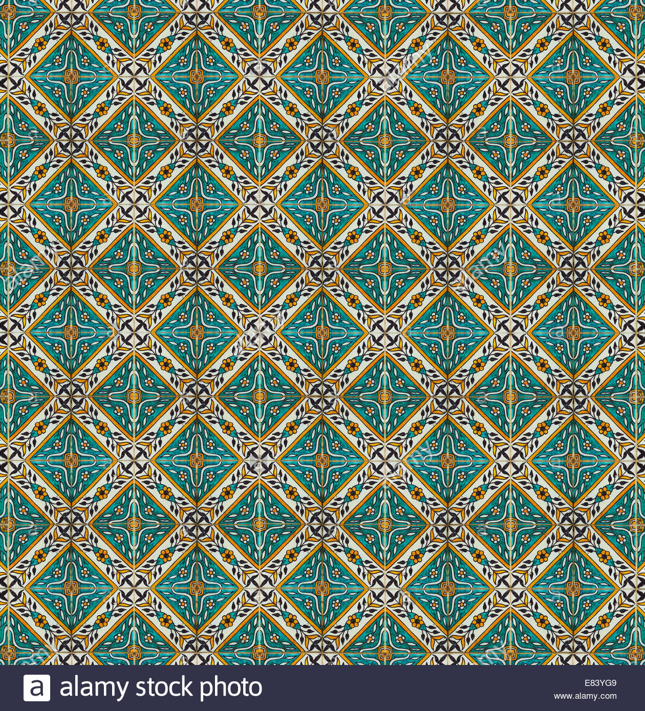 intricate ceramic tile design in a repeating pattern spanish stock