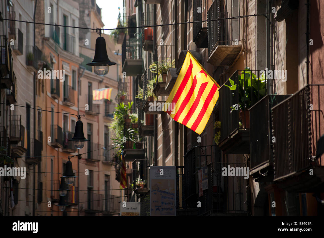 Catalonia region of Spain. 30th Sept, 2014. Catalonia region of Spain, flying the Catalonian flag in anticipation - Stock Image