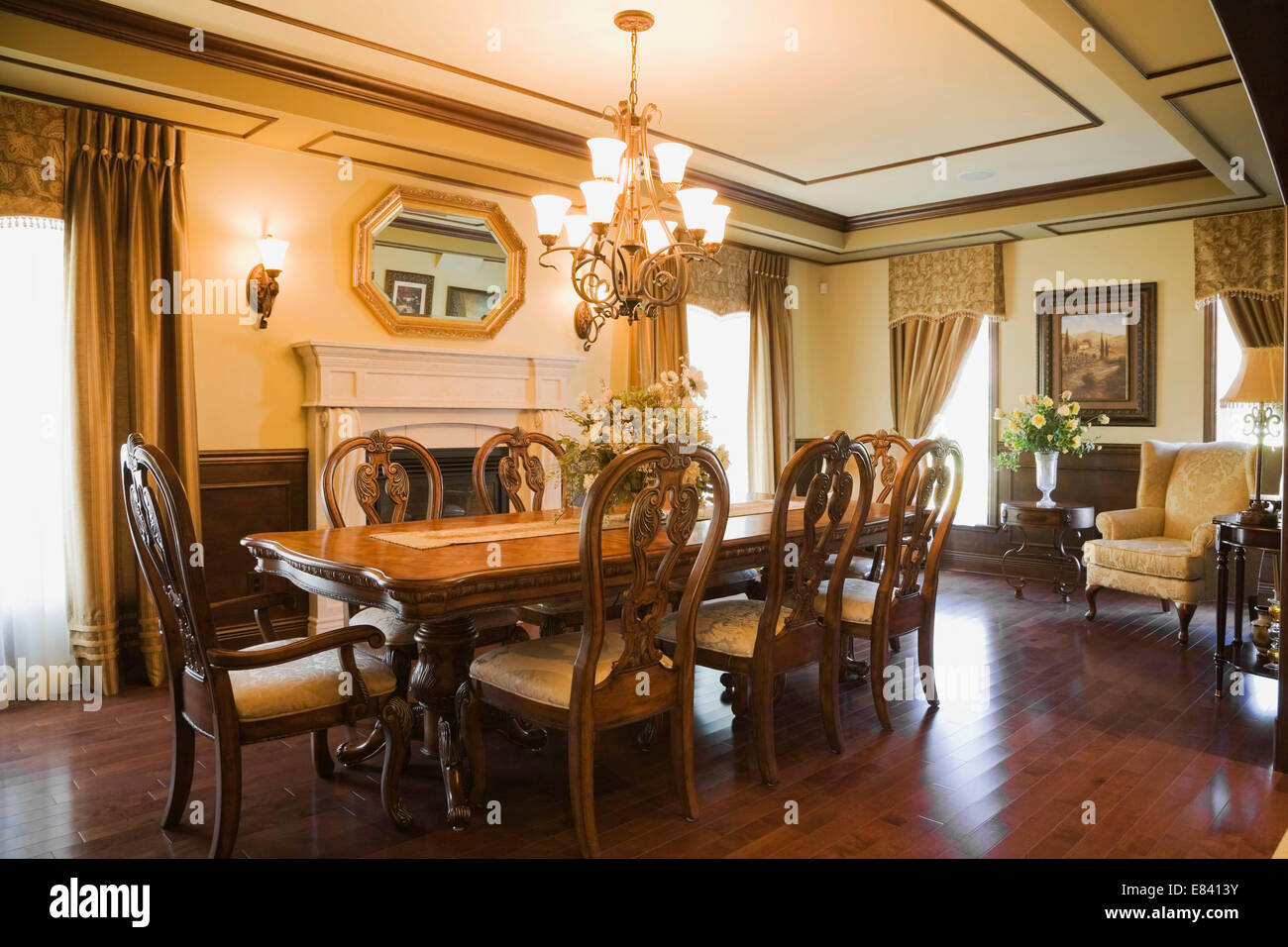 Luxurious old fashioned dining room stock photos