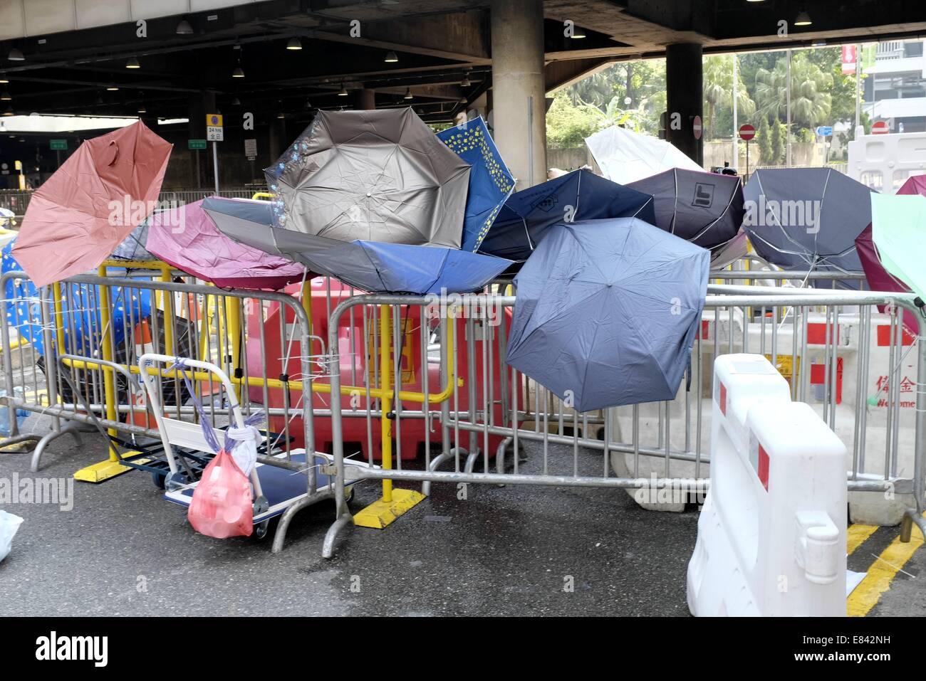 Umbrellas on the barricade at the Hong Kong Protests Stock Photo