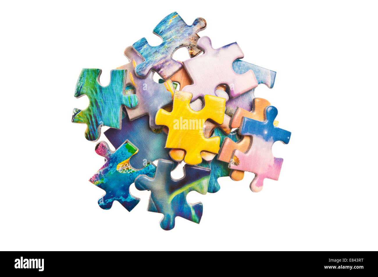 colorful jigsaw puzzle pieces - Stock Image