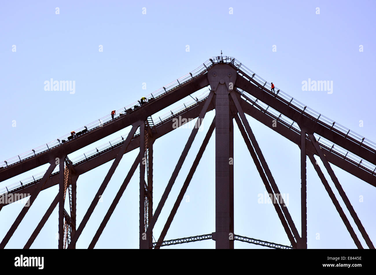 BRISBANE, AUS - SEP 26 2014:Workers on to of the Story Bridge.It's the longest cantilever bridge in Australia, - Stock Image