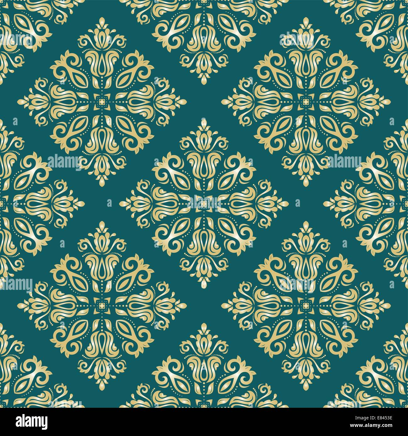 Oriental vector pattern with damask, arabesque and floral elements. Seamless abstract background - Stock Image