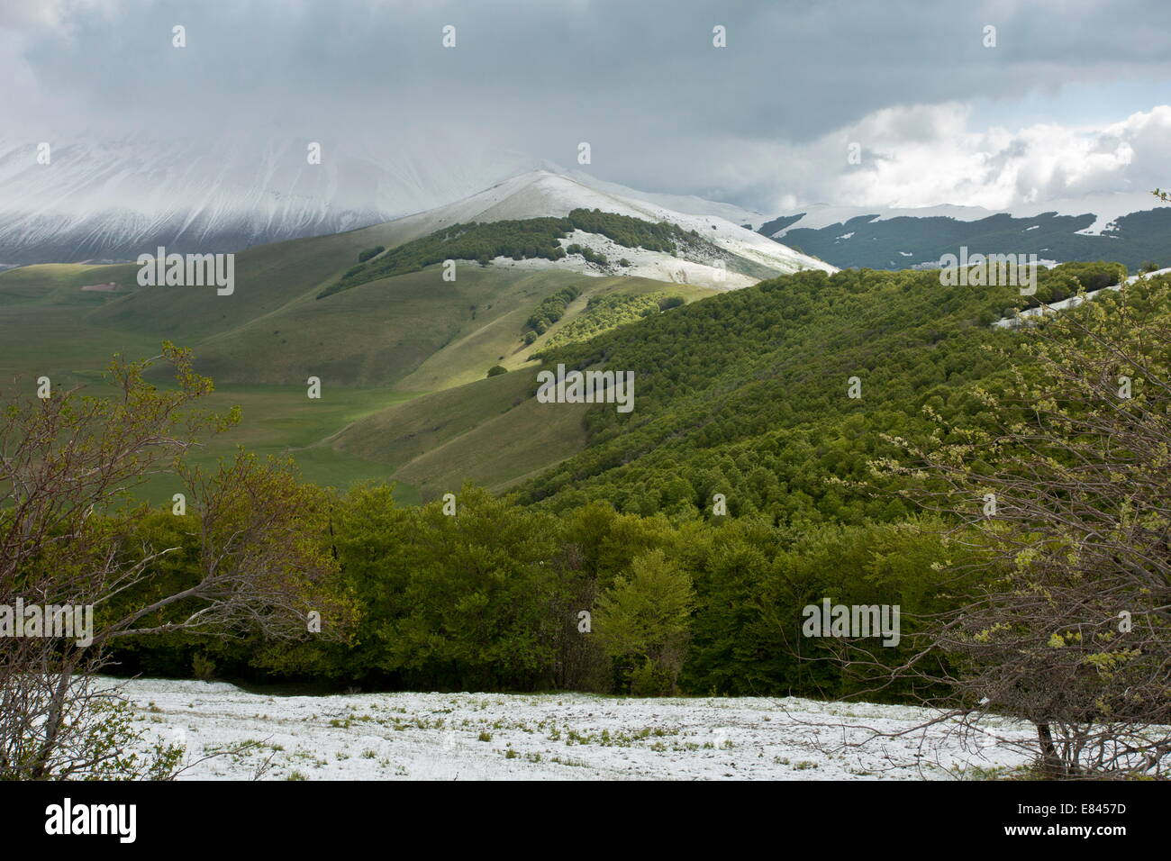 Looking into the Piano Grande, in spring, from the south; Monti Sibillini National Park, Italy. Stock Photo