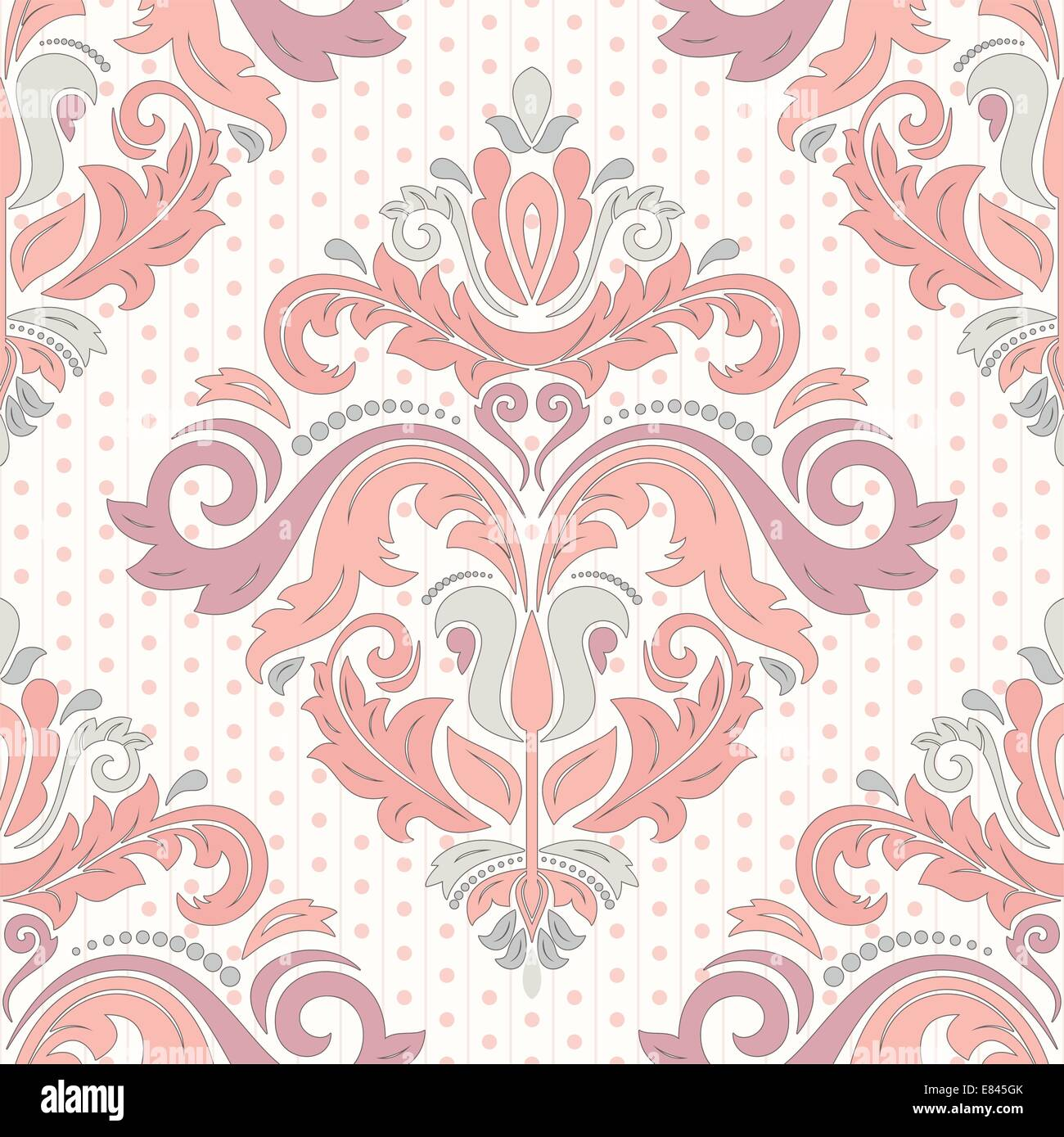 Floral vector oriental pattern with damask, arabesque and floral elements. Seamless abstract wallpaper and background - Stock Image
