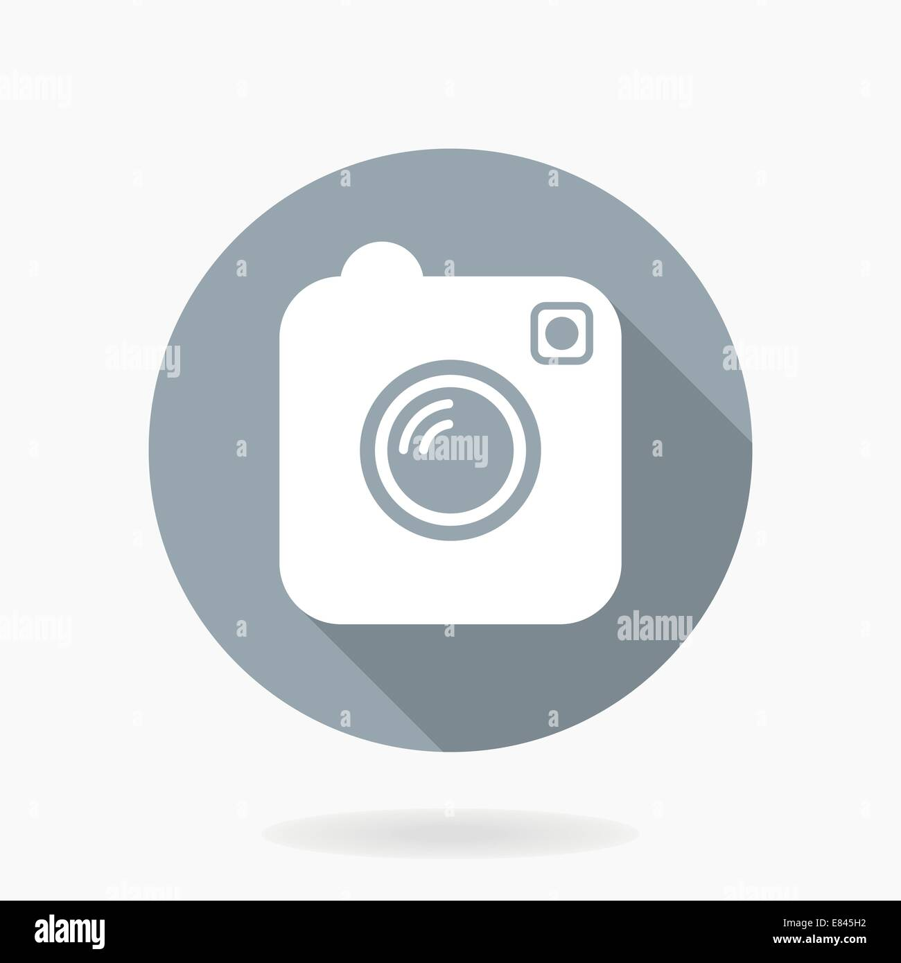 Camera vector icon with flat design in blue circle with long shadow - Stock Image