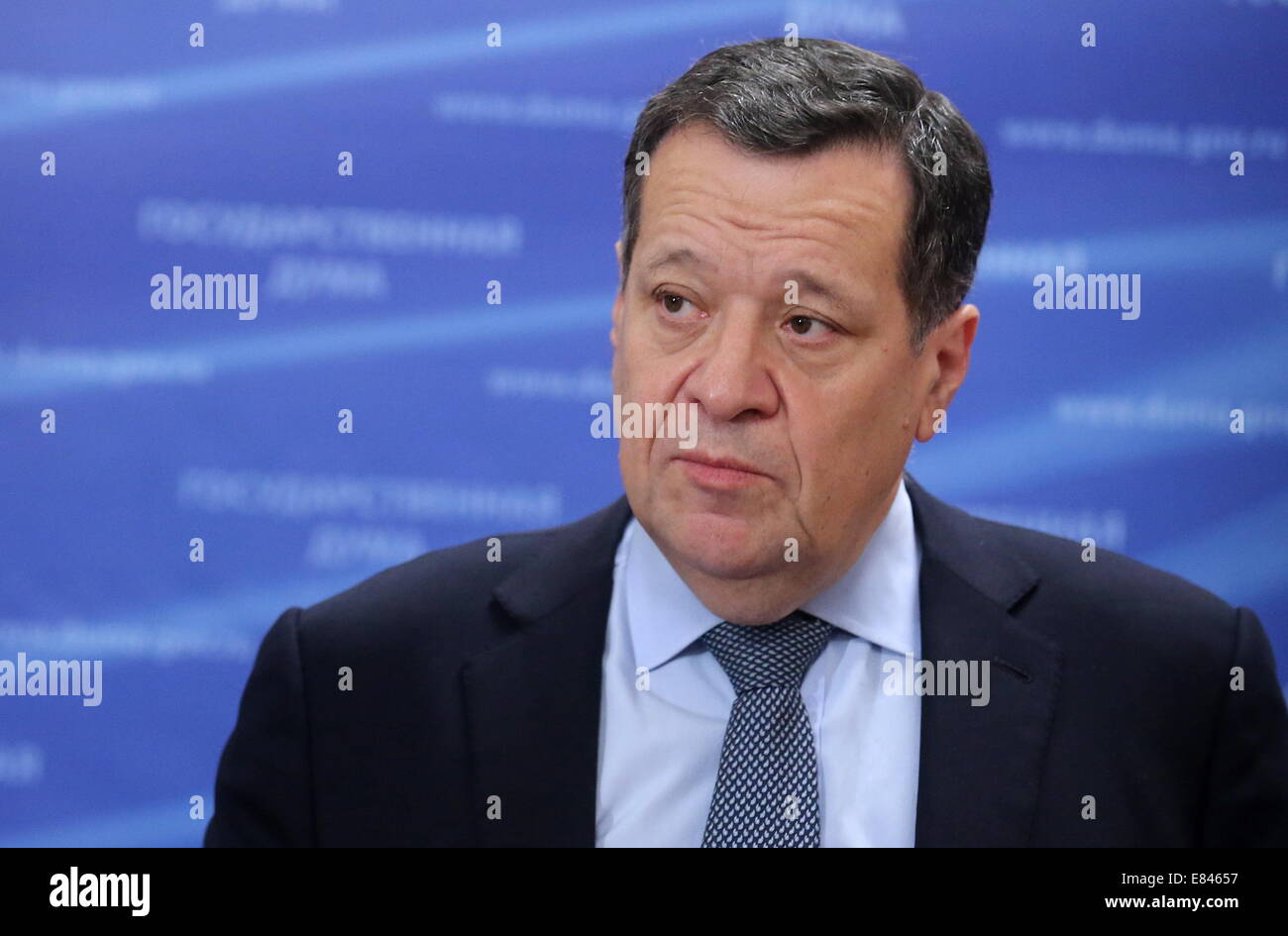 Moscow, Russia. 30th Sep, 2014. Andrei Makarov, chairman of the State Duma committee for budget and taxes, gives Stock Photo