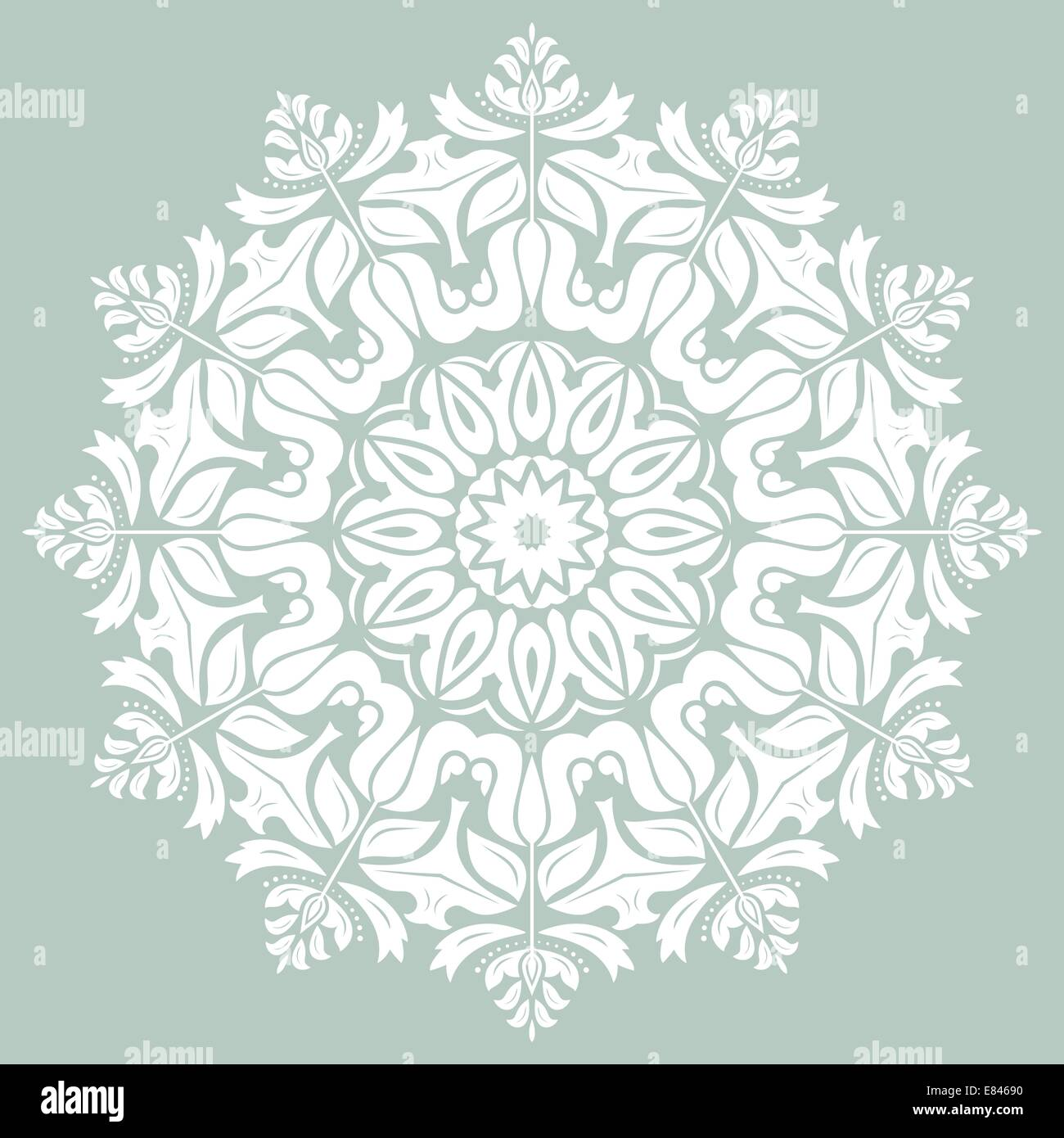 Oriental vector pattern with damask, arabesque and floral elements. Abstract background - Stock Image