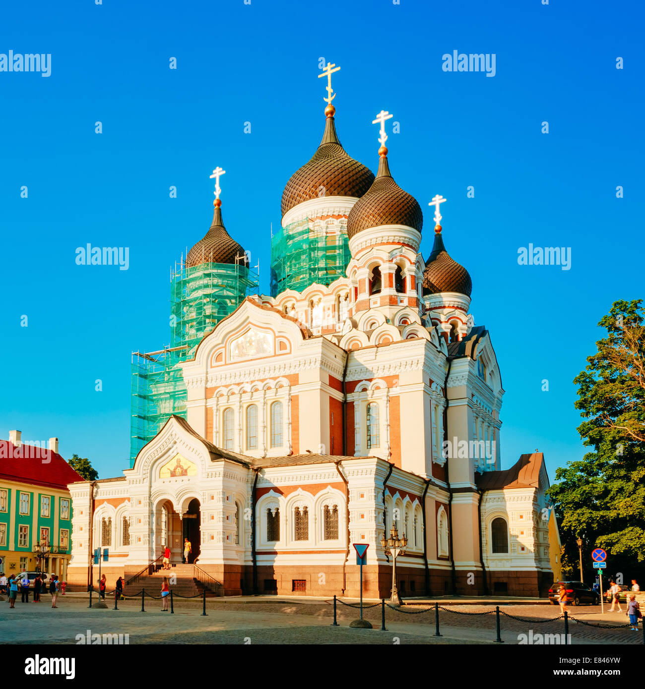 Alexander Nevsky Cathedral, An Orthodox Cathedral Church In Tallinn Old Town, Estonia. Summer Time - Stock Image