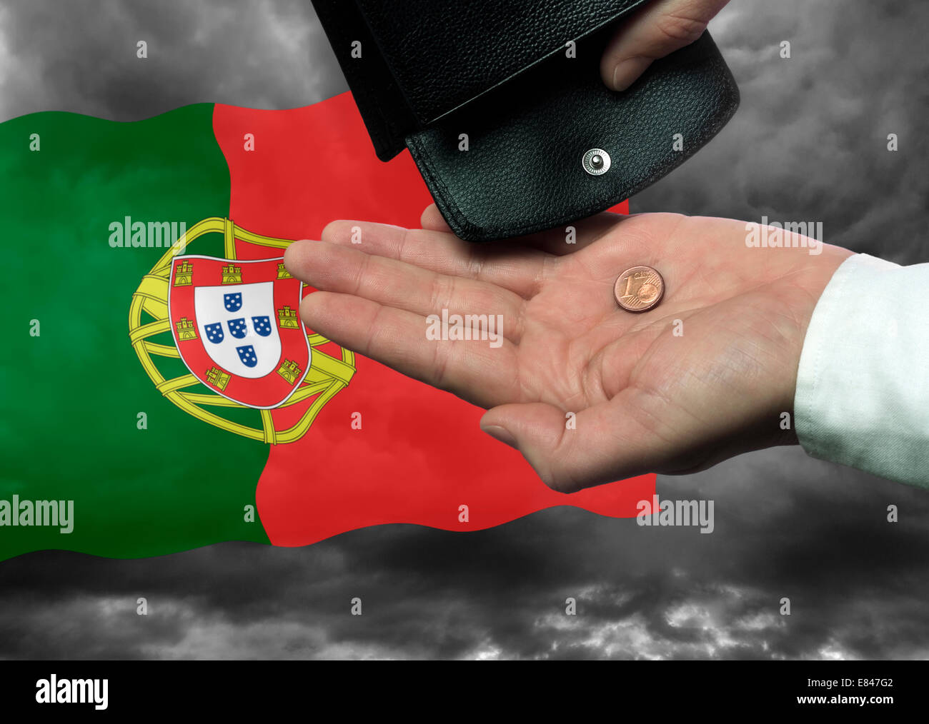 Hand with purse and € Cent coin before the Portuges flag as a symbol of the threat of national bankruptcy of the - Stock Image
