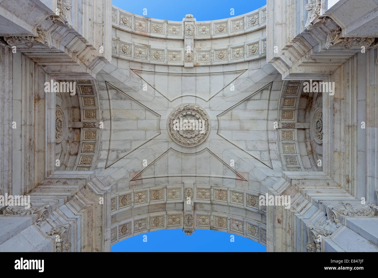 Detail from under the iconic Triumphal Arch of Rua Augusta Street in Praca do Comercio or Terreiro do Paco, Lisbon, - Stock Image