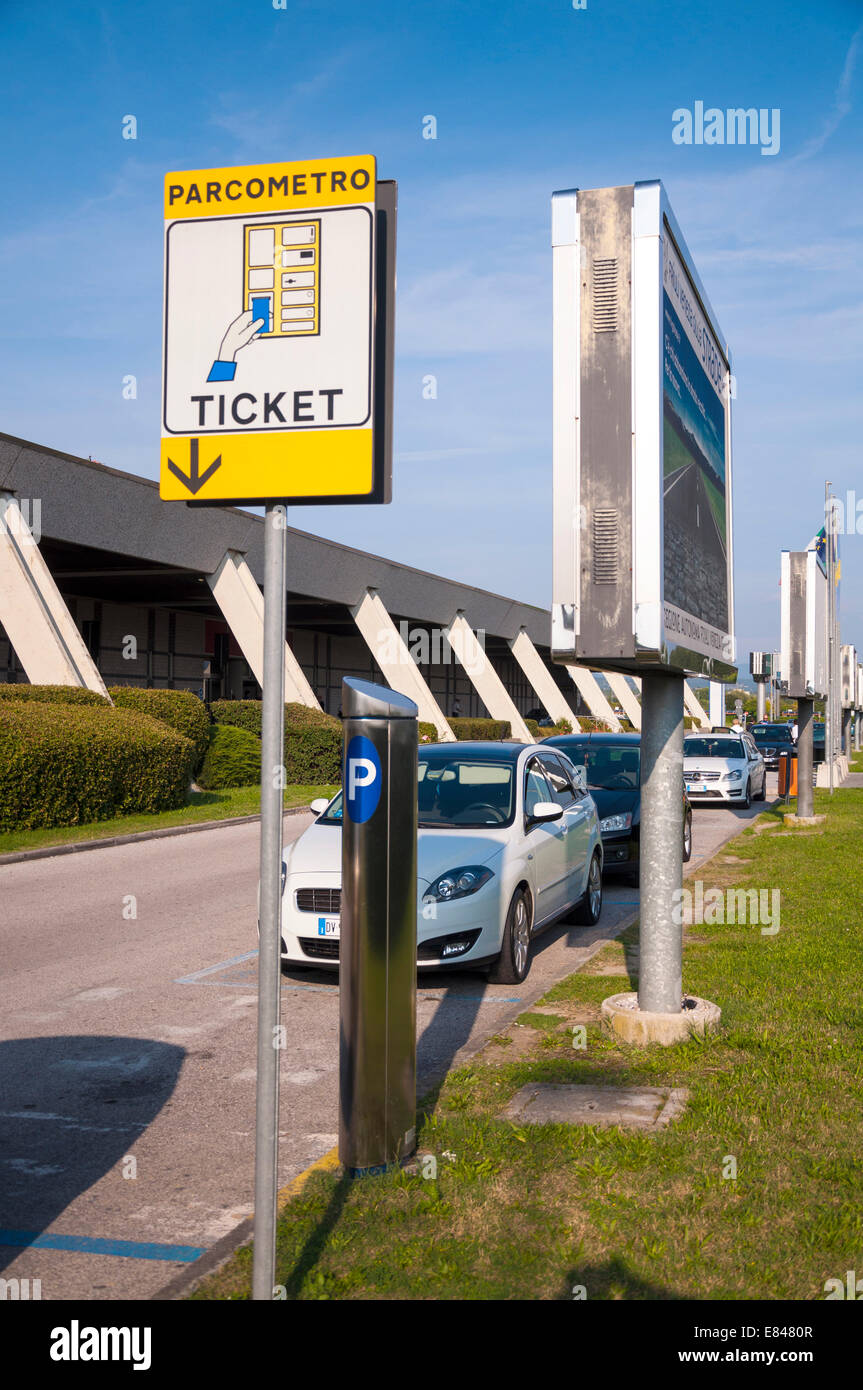 Trieste Airport car parking ticket machine signage Italy ...