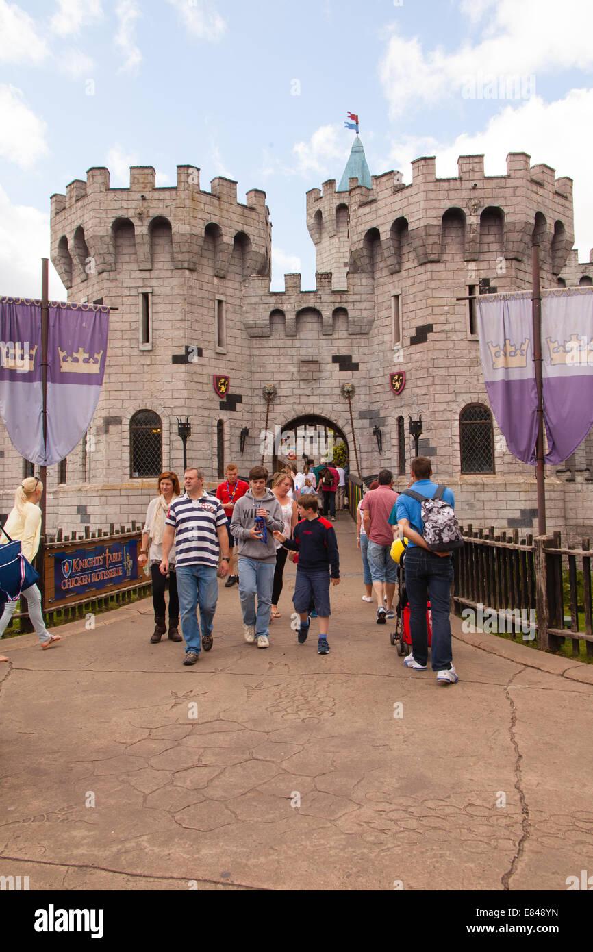 The castle containing the Dragon roller coaster ride, Legoland Windsor, London, England, United Kingdom. Stock Photo