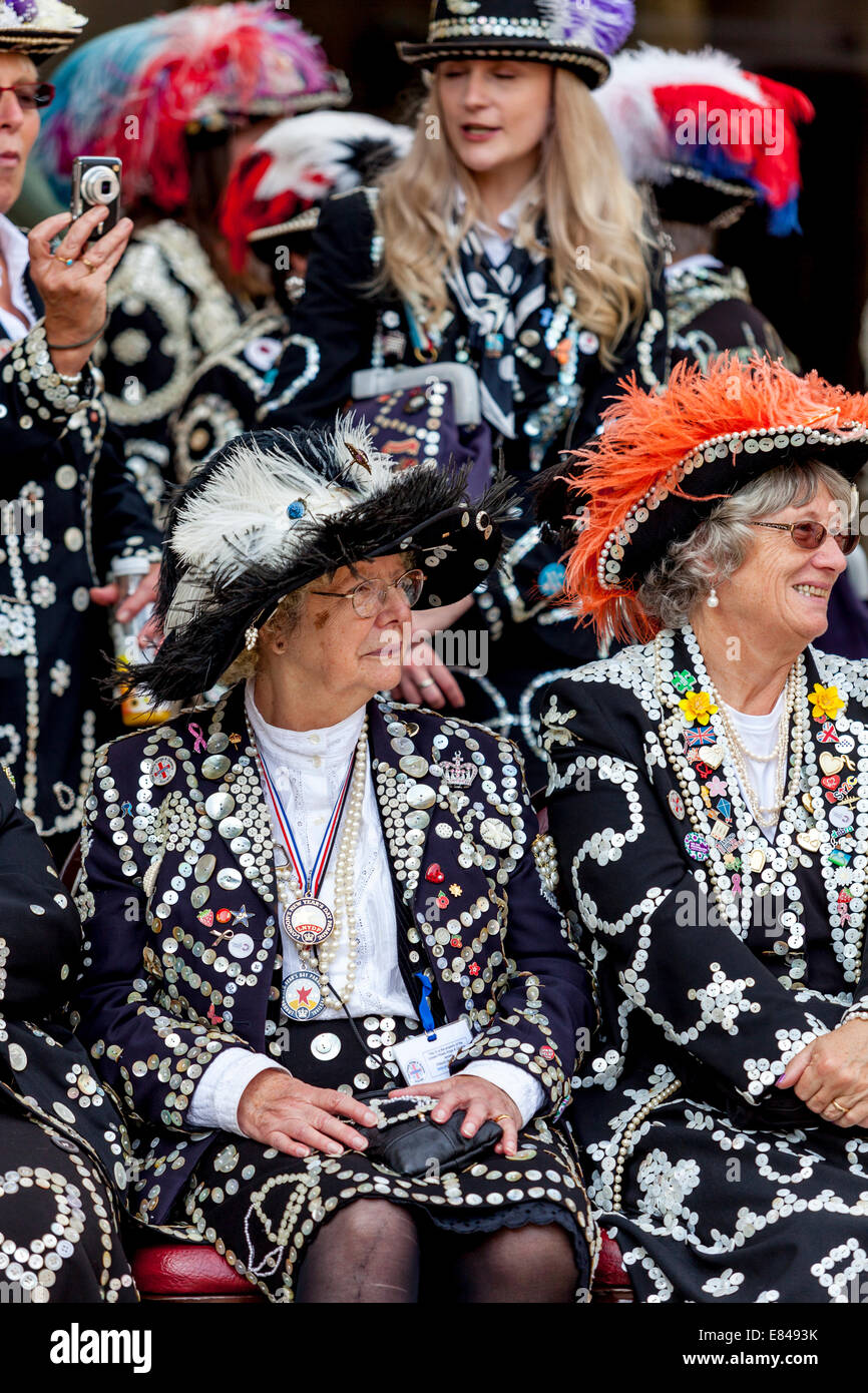 Pearly Queens & Princess's, The London Pearly Kings & Queens Society Costermongers Harvest Festival, - Stock Image