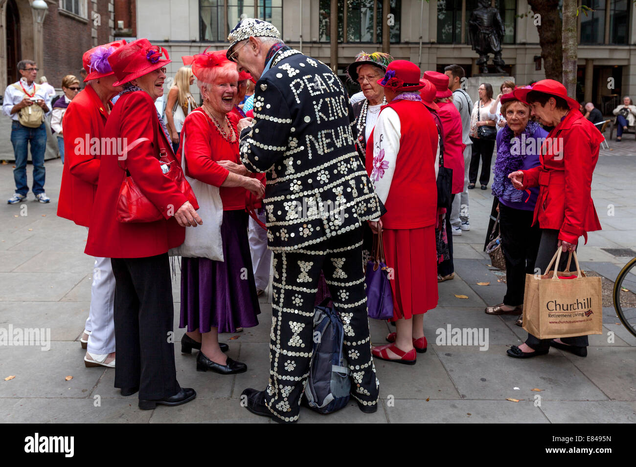 The London Pearly Kings & Queens Harvest Festival, St Mary Le Bow Church, London, England - Stock Image