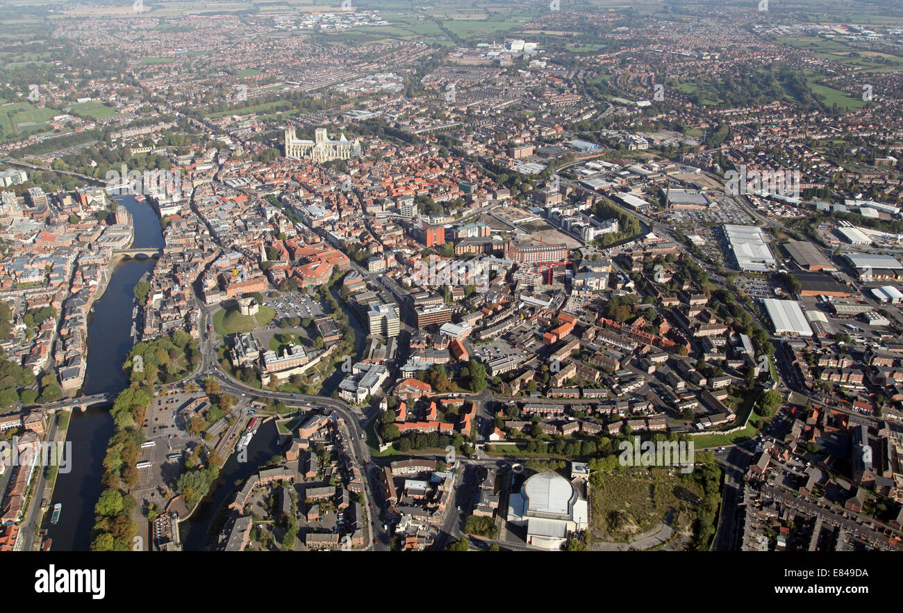 aerial view of the City of York, North Yorkshire, UK - Stock Image