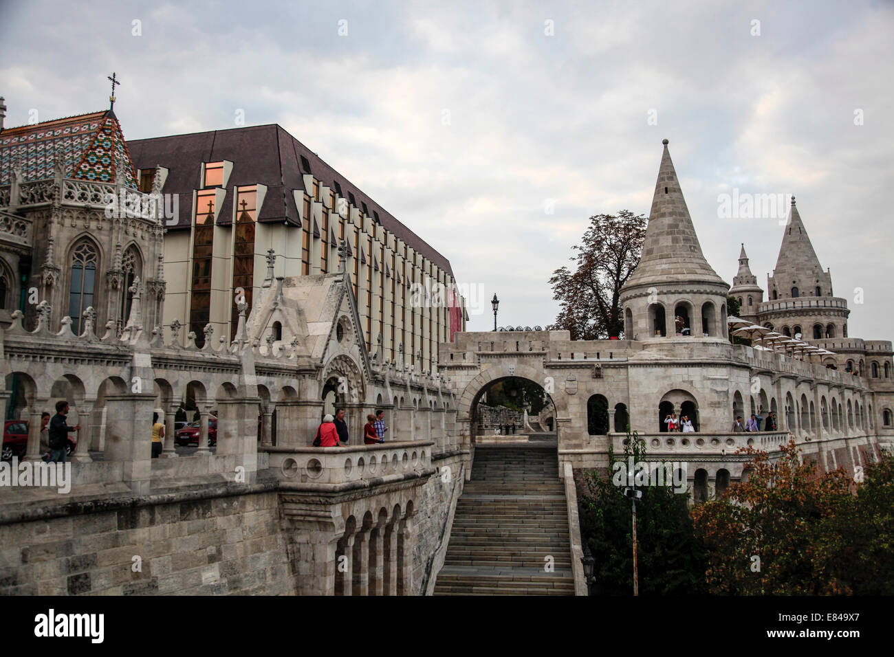 Fishermans Bastion and Church of Our Lady or Matthias Church Castle District, Budapest Hungary - Stock Image