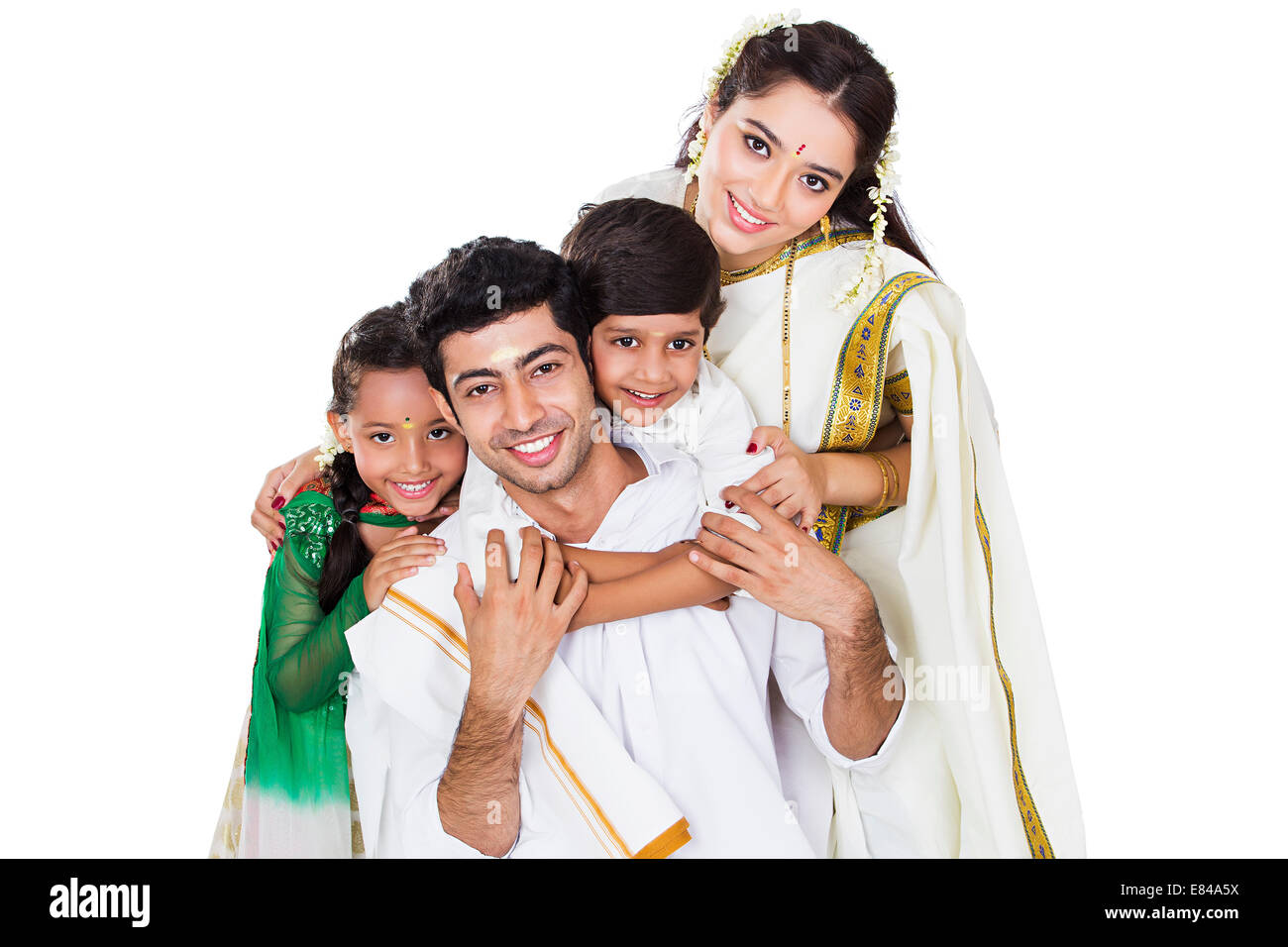 South Indian Family sitting - Stock Image