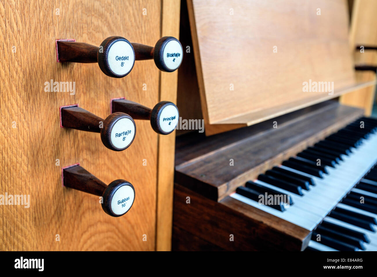 Stops and keyboard of the organ in Hallgrimskirkja church in Reykjavik, Iceland - Stock Image