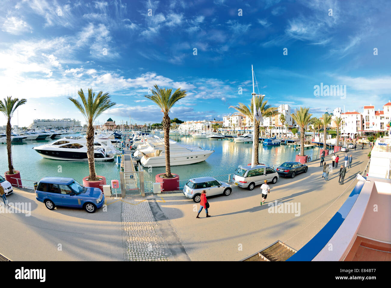 Portugal, Algarve: Fisheye perspective of the Marina de Vilamoura - Stock Image