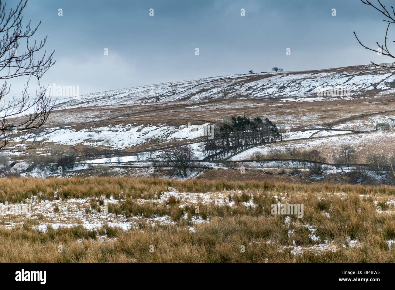 Snowy bleak view over Yorkshire Dales, England - Stock Image
