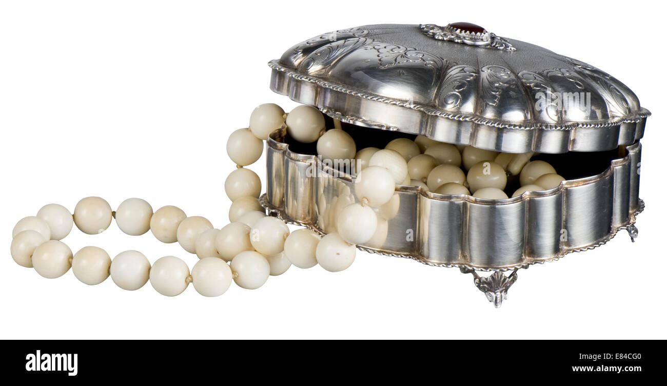 Silver coffer jewel with pearl - Stock Image