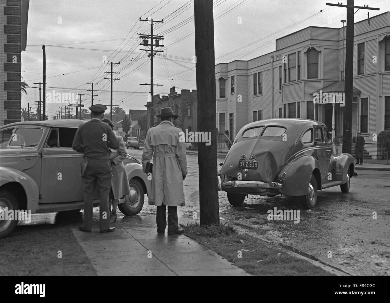 Auto accident in Los Angeles, California, USA c. 1955. It took place on Park Grove Avenue near the corner of West Stock Photo