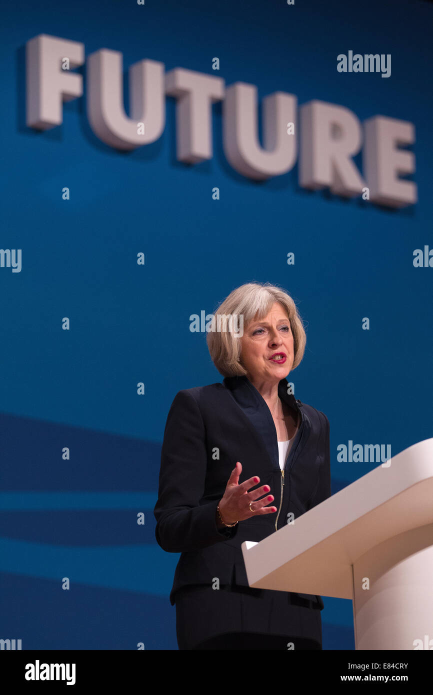 Birmingham, UK. 30th September, 2014.  Conservative Party Conference, Birmingham, UK 30.09.2014 Picture shows Theresa - Stock Image