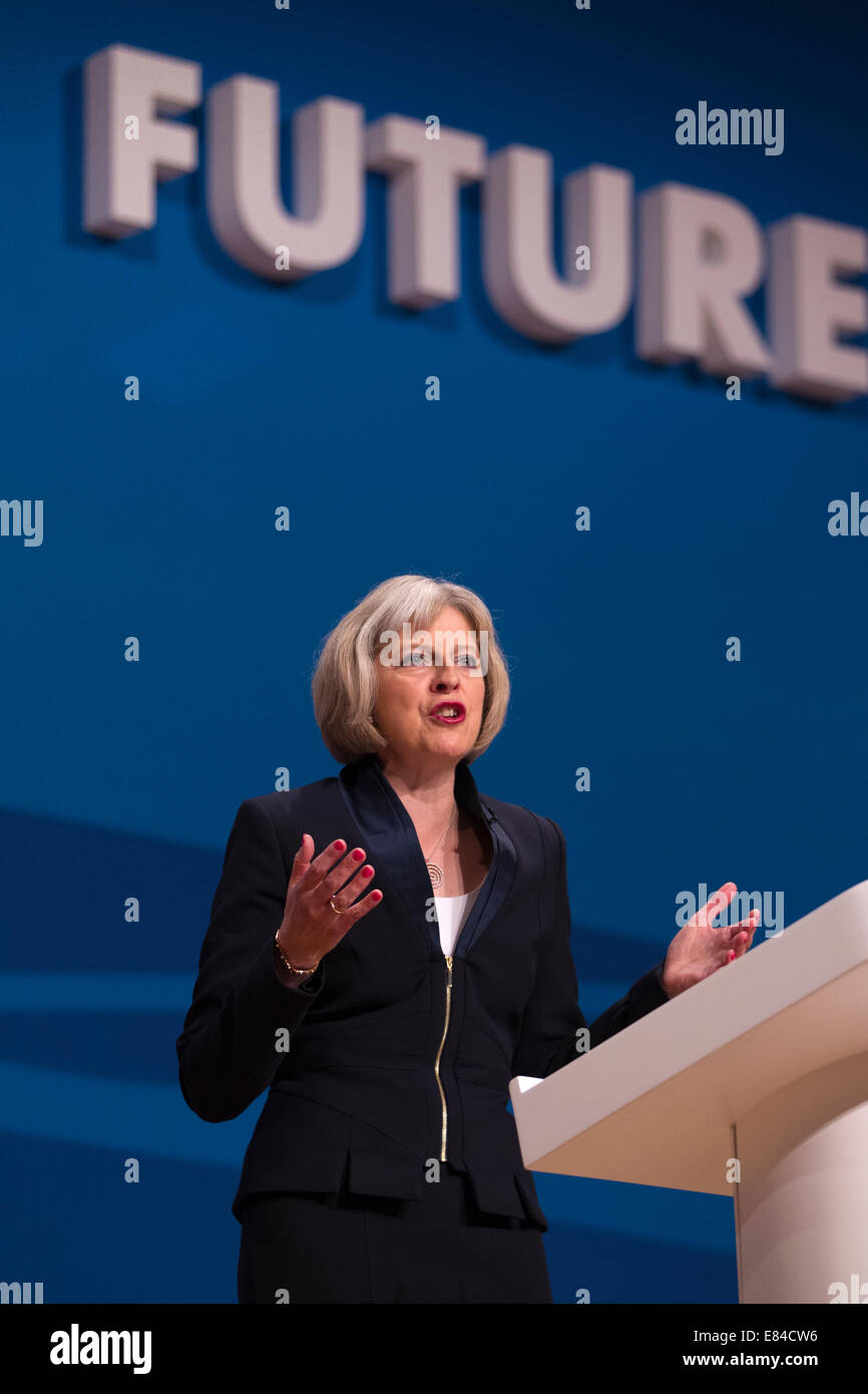Birmingham, UK. 30th September, 2014.  30.09.2014 Conservative Party Conference, Birmingham, UK Picture shows Theresa - Stock Image