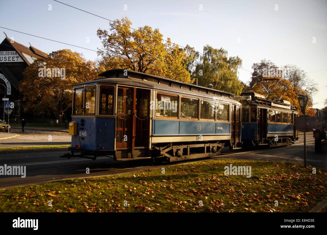 Old tram in Stockholm, Sweden, Sverige - Stock Image