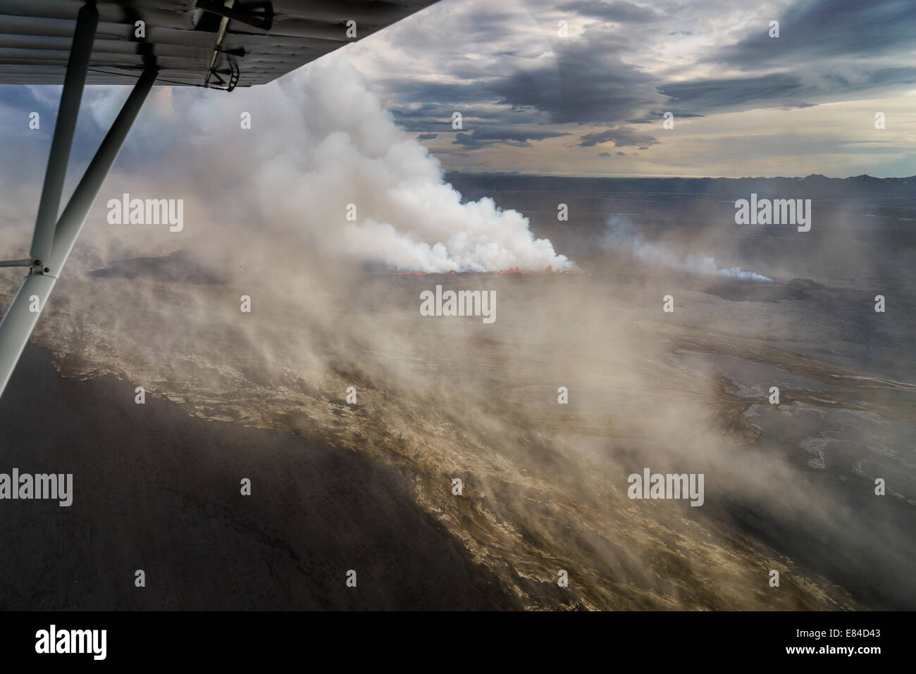 Lava and plumes from the Holuhraun Fissure Eruption by the Bardarbunga Volcano, Iceland. - Stock Image