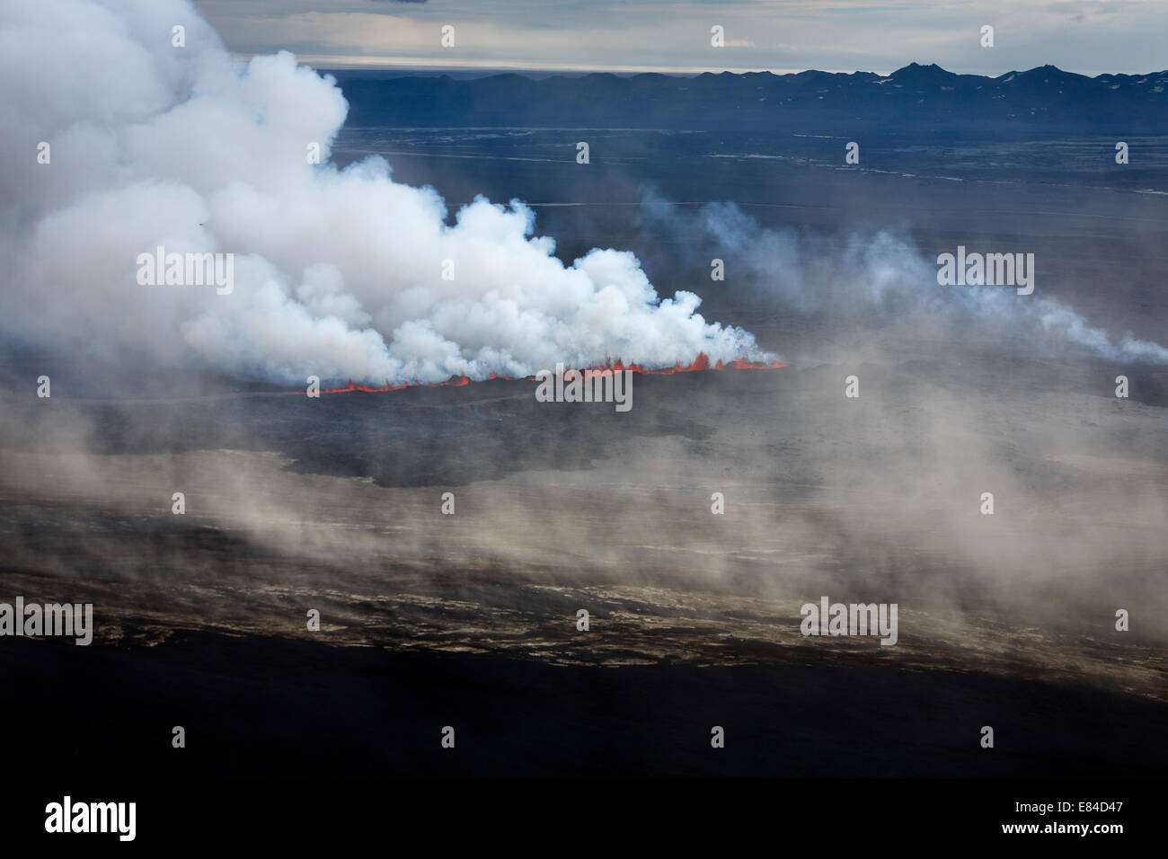 Lava and plumes from the Holuhraun Fissure Eruption by the Bardarbunga Volcano, Iceland. Stock Photo