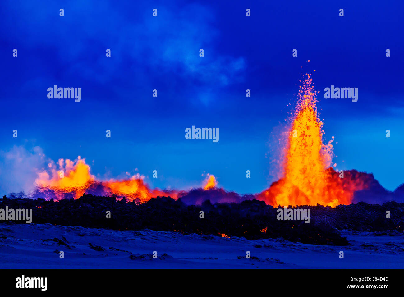 Lava fountains at the Holuhraun Fissure eruption near the Bardarbunga Volcano, Iceland. Stock Photo