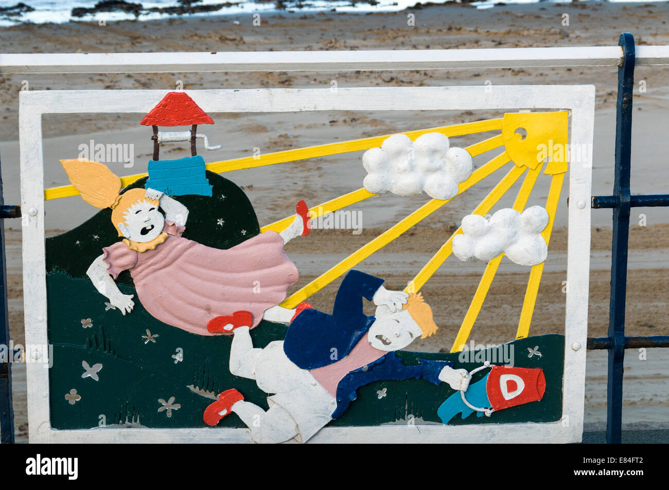 Decorative panel on the esplanade at Redcar depicting the nursery rhyme Jack and Jill - Stock Image