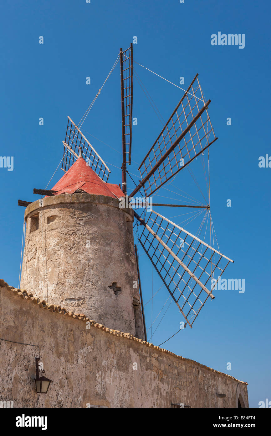 Windmill and salt museum near Marsala, Paceco, Trapani, Sicily, Italy, Europe Stock Photo