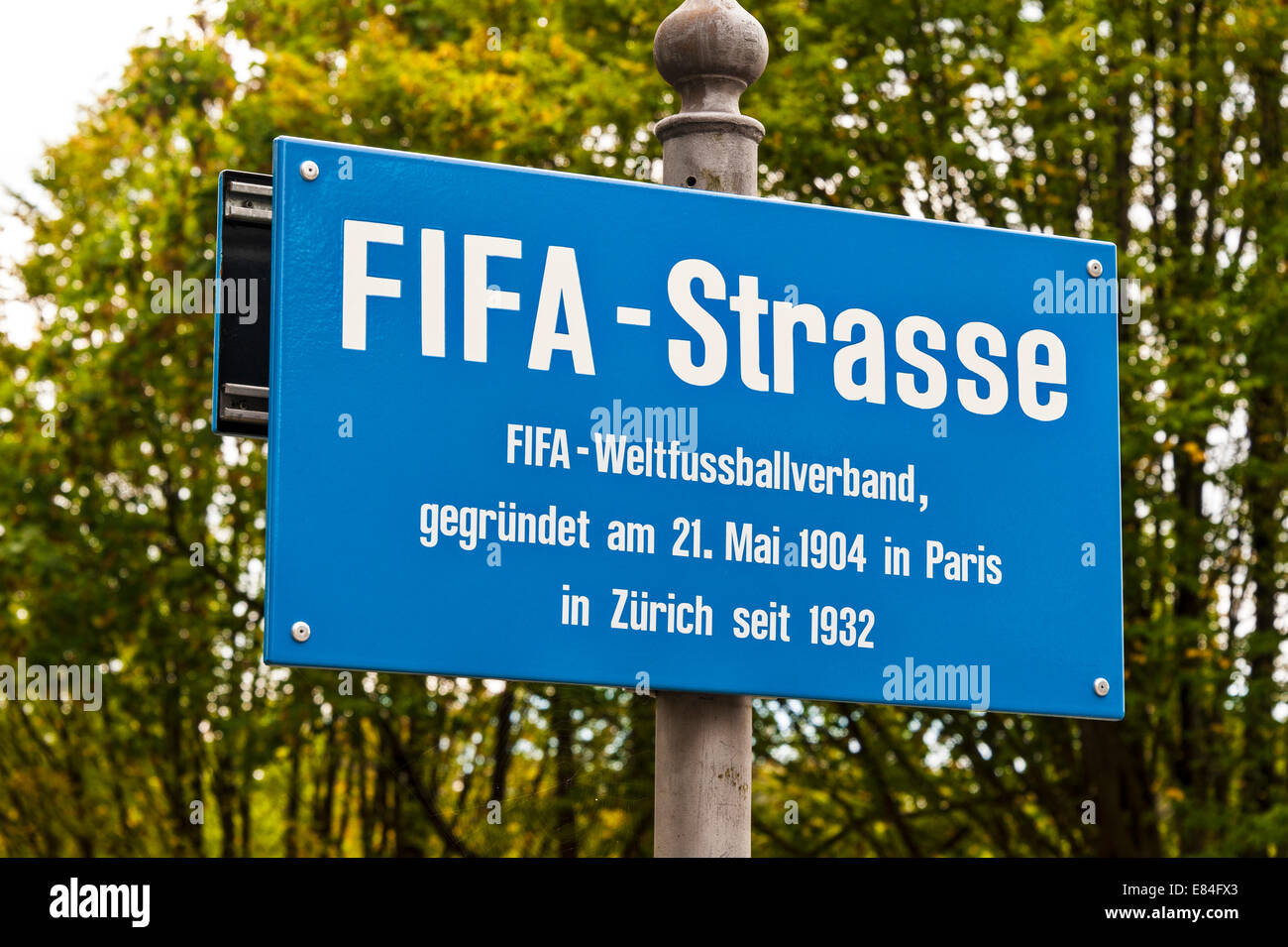 Street sign on the road leading up to the World Football Federation's (FIFA's) headquarters in Zurich, Switzerland. - Stock Image
