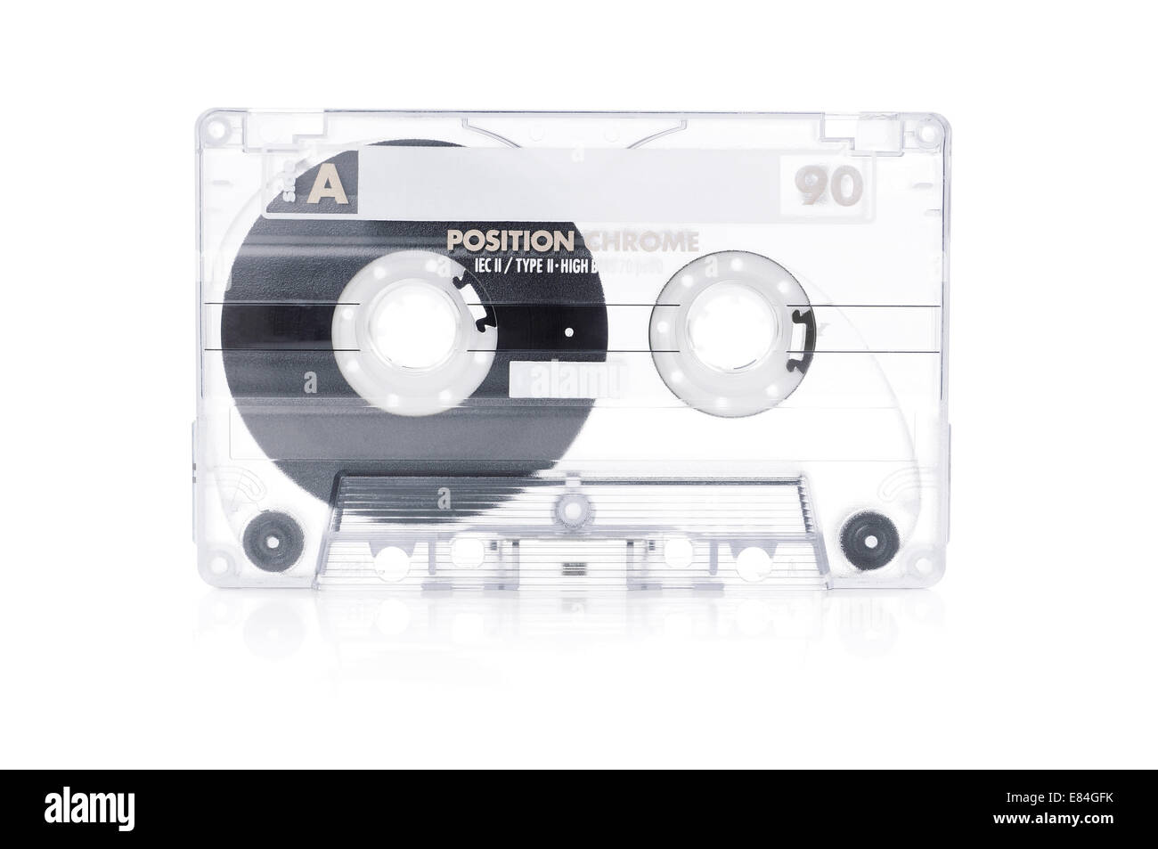 transparent blank audio tape cassette - Stock Image
