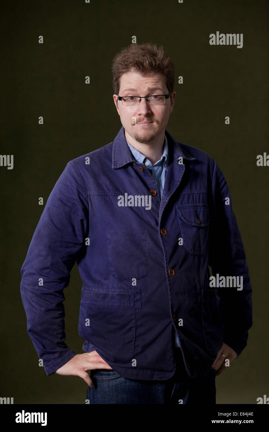 Tom Chivers, poet, at the Edinburgh International Book Festival 2014. Edinburgh, Scotland. 16th August 2014 - Stock Image